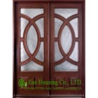 External glazed Solid Wood Entry Door, Cristales templados Puerta, clear or frosted glass