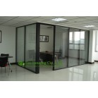 Aluminum Frame Fixed  Partition For Office With Louvers, Double Glazing