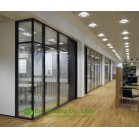 Aluminum Frame Fixed  Partition For Office, Black Color Office Glass Partition