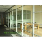 Aluminum Frame Fixed Glass Partition, Powder Coating Finished