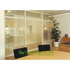 Black Color Aluminum Frame Fixed  Partition For Office With Louvers, Double Glazing