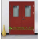 Double Leaf Swing Steel Fire Rated Door with Glass Vision For Commercial Building/ School / Hospital