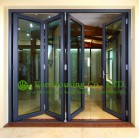 Tempered Safety Glass Aluminum Folding Window & Door For Apartment, Black Color Frame