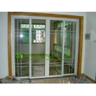 Customized UPVC Sliding Door With Grilled Design For Residential Apartment,White Color Profile Vinyl Sliding door
