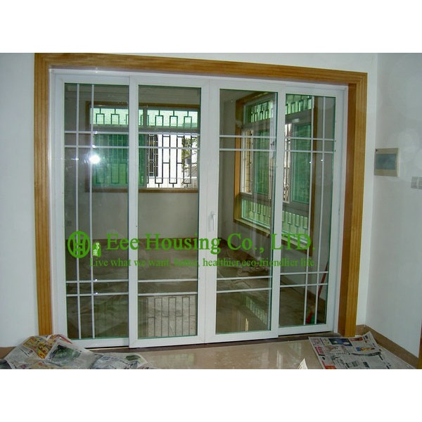 Customized UPVC Sliding Door With Grilled Design For Residential ApartmentWhite Color Profile Vinyl