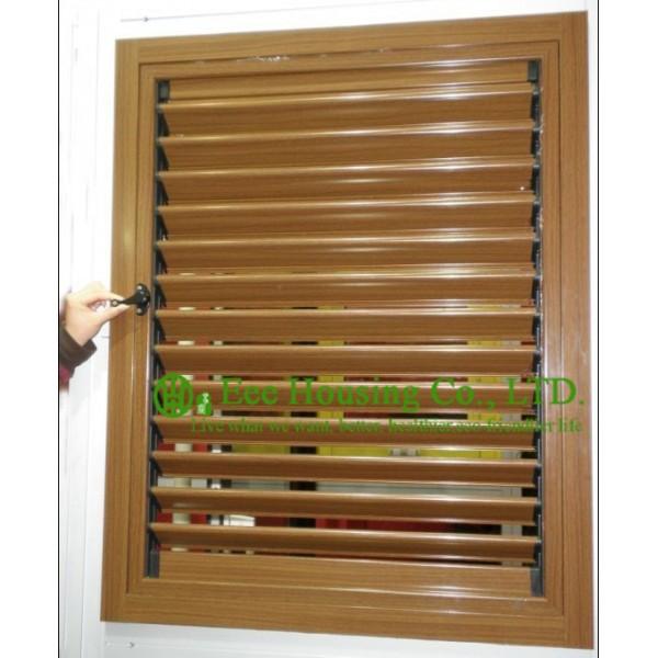 Wood Color Profile Upvc Louver Windows For House Residential Vinyl Shutter Windows