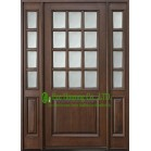 Customized Solid Timber Entry Door With Frosted Tempered Glass For Villas, Elegant  Entry Door With Fixed Sidelites