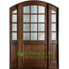 Arch Design Solid Timber Entry Door With Frosted Tempered Glass For Villas, Elegant  Entry Door With Fixed Sidelites