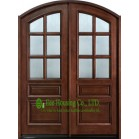 Arch Design Solid Timber Entry Door With Frosted Tempered Glass For Villas, Elegant Double Entry Door With Fixed Sidelites