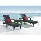 Modern Outdoor Black PE Rattan Sun Lounger With Pillow For Sale, Durable and Eco-friendly