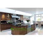 Customized MDF Timber Veneer Kitchen Cabinet For Apartment, Knock-down packing
