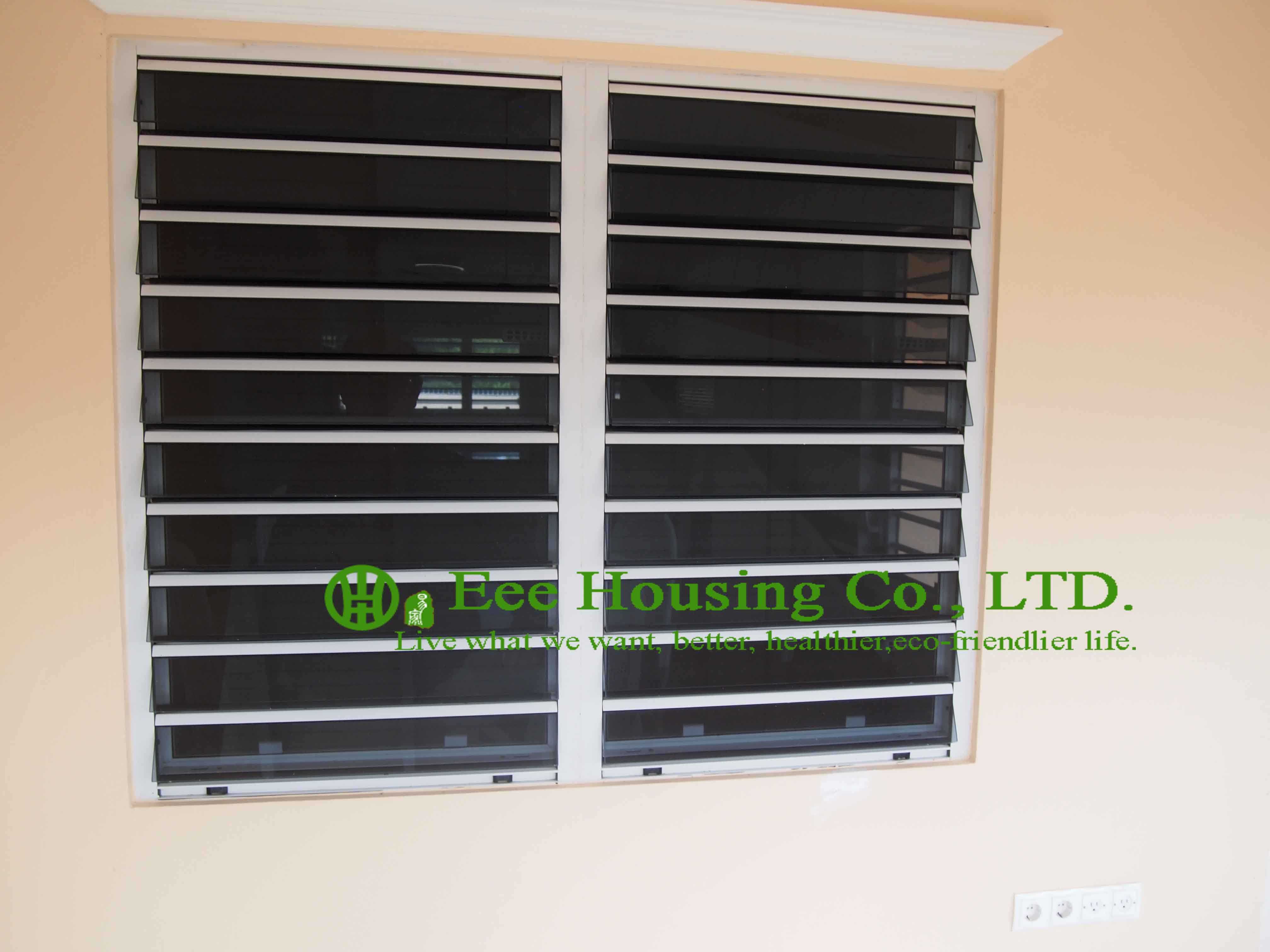aluminum safe glass louvered windows with tinted glass